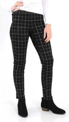 b26c018bcfc99 Lumiere Clothing High Waisted Windowpane Plaid Ponte Pants for Women in  Black AP03378-B Ponte