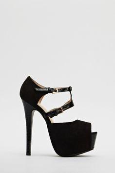 Textured Front Strap Suedette heeled Sandals