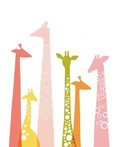 11X14 giraffe silhouettes giclée print on fine art by ThePaperNut, $25.00