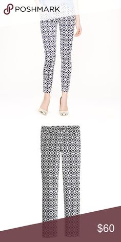 """✨HP✨J. Crew Toothpick Jeans in Geometric Print J.  Crew Toothpick Skinnies in Geometric Print.  Excellent condition in size 28 ankle.  98% cotton 2% spandex.  8"""" Rise and 28"""" inseam. Sits lower on hips. Slim through hip and thigh, with a skinny, cropped leg. 11 7/8"""" leg. Machine wash. J. Crew Pants Skinny"""