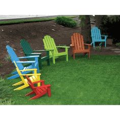 Select one of these vibrant colors to be painted on a natural wood adirondack chair.