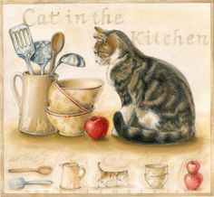 cats in the kitchen wall paper 87 best cat s images decor supplies crazy watercolor paintings art september 7