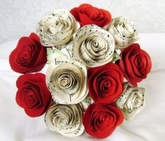 2 spiral hymnal sheet music roses and spiral red by HBixbyArtworks