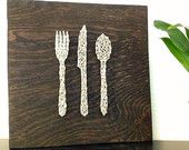 Gray Silverware Nail and String Art Home Wall Decor