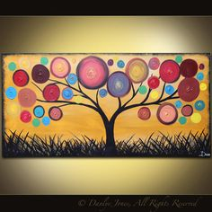 Abstract Painting Tree acrylic on canvas red ochre 48 x 24 SALE
