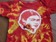 Upcycled Frida Kahlo TieDye Onesie in Sunset Colors by griffencat, $15.00