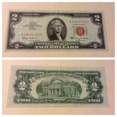 VINTAGE $2 USN 1963-A UNITED STATES NOTE JEFFERSON RED SEAL TWO DOLLAR BILL VNC - http://coins.goshoppins.com/us-paper-money/vintage-2-usn-1963-a-united-states-note-jefferson-red-seal-two-dollar-bill-vnc/