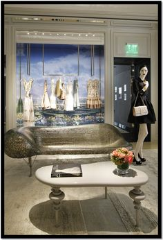 Inside the Dior Store on Rodeo Drive  Johnny Swing Bench made of nickels