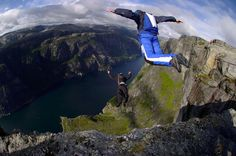 BASE jumping is a sport involving the use of a parachute or the sequenced use of a wingsuit and parachute to jump from fixed objects–with th. Base Jumping, Parkour, Jet Ski, Stations De Ski, Fruit Water, Wtf Fun Facts, Random Facts, Random Stuff, Skydiving