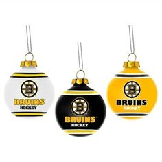 Boston Bruins 3-Pack of Glass Ball Ornaments