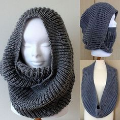 Knitting Pattern Oxford Hooded Cowl (pdf file) is part of Knitting and Crochet Scarves Hooded Cowl - pure new wool, acrylic DK, Light Worsted weight yarn light) 8 ply I used Polo Plain yarn by Sandilane (Italia); Crochet Cowl Free Pattern, Crochet Shawl, Knitting Patterns Free, Knit Patterns, Free Crochet, Knit Crochet, Crochet Granny, Stitch Patterns, Knitting Projects
