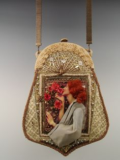 'Scent of a Rose' - Beaded purse with with Bakelite frame by Diane Hyde 2007