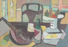 Maria Ewa ŁUNKIEWICZ-ROGOYSKA,Martwa natura z instrumentami i krzesłem , olej, sklejka, 66 x 93 cm