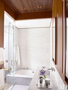 Eric Cohler - NYC Triplex - Modern Interior - Bathroom Tile - Waterworks Fittings