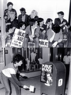 Public Image Limited poster pasting brigade: Darby Crash is on the left with Pat Smear on the far right, photos Gary Leonard 1980