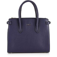 Furla Pin Small Tote Bag- Navy ($175) ❤ liked on Polyvore featuring bags, handbags, tote bags, navy, structured leather tote, blue leather tote bag, handbags totes, blue leather handbags and leather tote purse