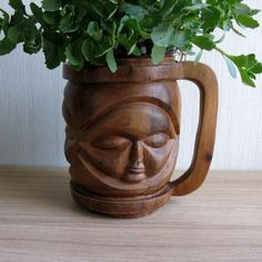 Carved Wood Mug with 3 Faces X-Large Tribal Planter Pot | Etsy