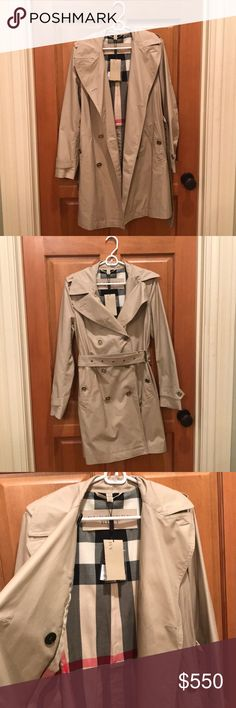 Burberry Trench Coat Burberry trench coat with classic Burberry print on the inside. It has 8 buttons across the breast and stomach and a belt to help define the waist.   New with tags. Never been worn! Burberry Jackets & Coats Trench Coats