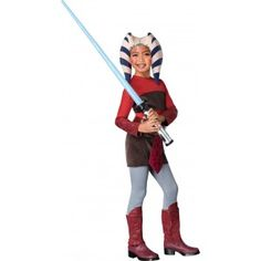 Straight from the Star Wars universe, introducing our young Padawan children costume. Ahsoka Tano is a young Jedi girl that trains with Anakin Skywalker in the Clone Wars movie. The outfit includes jumpsuit with attached shirt, headpiece, and belt with apron.  © Lucasfilm Ltd. & TM. All rights reserved.