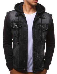 Kurtka męska jeansowa czarna (tx2161) - sklep online Dstreet.pl