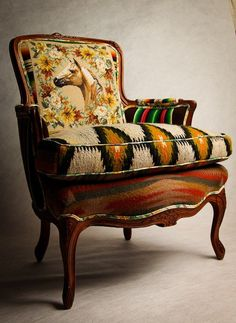 Recycle & Upcycle Fun / An old armchair made new with Kilims upholstery / Kilim Makeover by Totem Salvaged. Equestrian Decor, Western Decor, Equestrian Style, Reclaimed Furniture, Unique Furniture, Western Furniture, Poltrona Bergere, Love Chair, Home On The Range