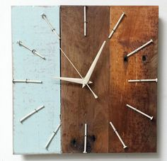 original  driftwood clock wooden wood upcycle reclaimed rustic handmade