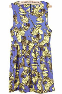 Blue Sleeveless Vintage Coins Print Pleated Dress pictures