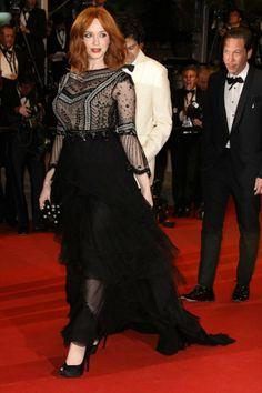 La moda del festival de Cannes 2014. Christina Hendricks en Alberta Ferretti