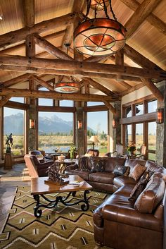 Log home great room. Love the openness