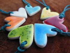 Tiny Heart Shaped Essential Oil Diffuser Necklace for Children, Kids Natural Medicine Ceramic Pendant, Bright Colored Miniature Clay Jewelry