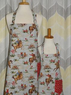 Retro Cowboys Mommy and Me Matching Apron by SewWhatDesignsHome