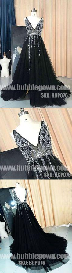 Black V Neck Popular Beaded V Back Cheap Long Prom Dress, BGP076 #promdress #promdresses #longpromdress #longpromdresses #eveningdress