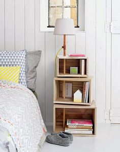 15 DIY Nightstand Ideas for a Unique Bedroom Interior Decor, Furniture, Bedside Table Diy, Diy Furniture Projects, Interior, Home Diy, Furniture Projects, Home Bedroom, Home Decor