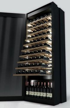 The HT Lux by Sand & Birch is a tall, rectangular oak and maple wine cellar featuring stainless steel, glass, UV and LED lighting with space for around 70 bottles on removable shelves