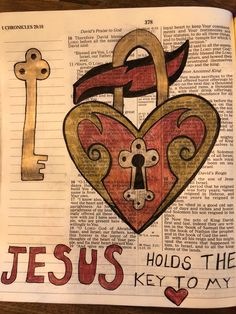 Jesus holds the key to my heart. New Bible, Bible Art, Bible Scriptures, Book Art, 1 Chronicles, Bible Illustrations, Bless The Lord, Key To My Heart, Walk By Faith