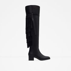 ZARA - WOMAN - FLAT LEATHER BOOTS WITH FRINGE