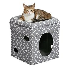 Gray Cat Cave Bed Pet Cube House Soft Condo Warm Winter Climbing Play Toy Sleep #GrayCatCaveBed
