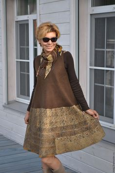 """Купить валяный сарафан  """"Brown"""" - платье, платье валяное, платье авторское…"""