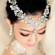Duftgold Crystal 2 Pcs Accessories Necklace Earrings Hair Accessory