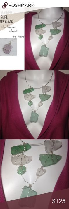 """""""The Green Spectrum"""" Sea Glass Statement Necklace """"The Green Spectrum"""" Sea Glass 7-Stone Statement Necklace. GORGEOUS PIECE! Great Christmas Gift idea prettyinlove Jewelry Necklaces"""