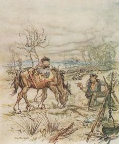 Arthur Rackham's illustration of Toad and the gypsy.