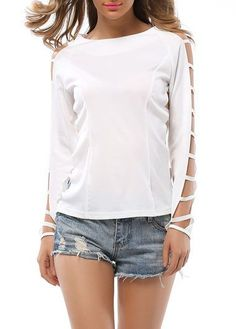 White Ladder Cut Out Long Sleeve T Shirt