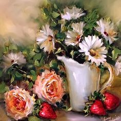 """""""Tea for Two With Peonies and Strawberries"""" by Nancy Medina"""