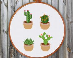 Cactus cross stitch pattern modern cross stitch от ThuHaDesign