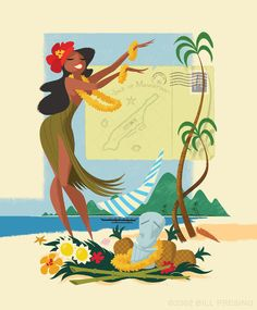 Hula Dancer Illustration Hawaiian Art