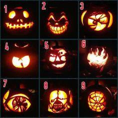 Cerritos Campus pumpkin carvings. #skillz We need help in picking a winner. Comment with the number you like best! #fremontcollege #pumpkins #jackolanterns #halloweenhangover