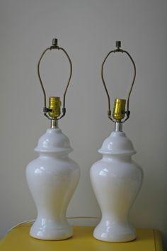 Pair White Ginger Jar Lamps / $60