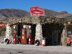 Sitgreaves Pass - Cool Springs Service Station - Beautifully restored in 2004 Located between Kingman and Oatman, Arizona, Sitgreaves Pass follows the original alignment of Historic Route 66. It is a great drive, full of hairpin turns and spectacular desert scenery.