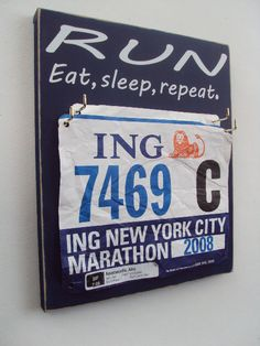 Possible craft project? The perfect way to store old racing bibs!