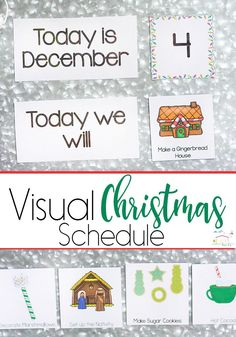 Help you child understand what will be happening each day during the busy Christmas season with this simple visual Christmas schedule. Great for kids who don't know how long a day, week or month is!